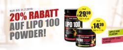 20% Rabatt auf alle LIPO 100 POWDER Fatburner