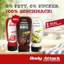 JETZT NEU: Body Attack Grill-Saucen, Dessert-Saucen und Dressings