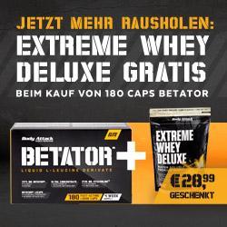Betator 180 Caps plus 900g Extreme Whey Deluxe Gratis!