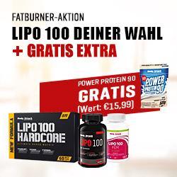 Fatburner-Aktion: LIPO 100 Deiner Wahl + Gratis-Protein