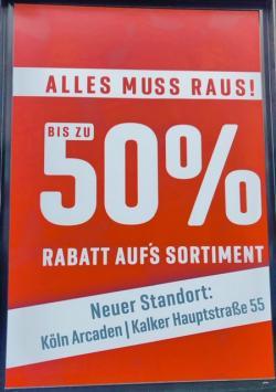 ALLES MUSS RAUS!!! 35% BIS 50% RABATT AUF ALLES!!!