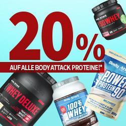 20 % auf alle Body Attack Proteine