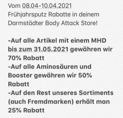 Bis zu 70% Rabatt in deinem Body Attack Store Darmstadt
